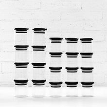 PLD Black 30 Piece Bamboo Glass Spice Jar & Label Set Options