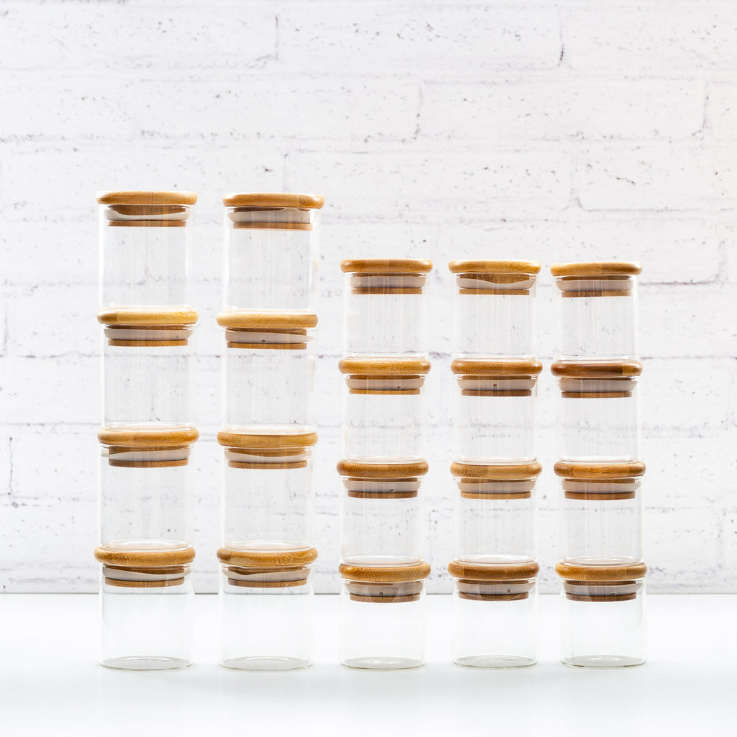 Bamboo Glass Spice Jars