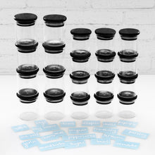 PLD 20 Piece Black Bamboo Glass Spice Jar & Label Set