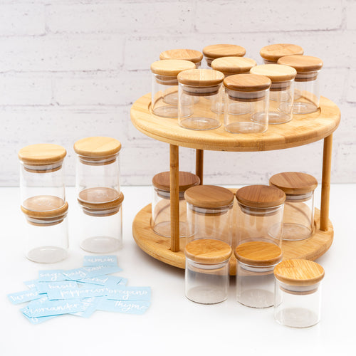 PLD 20 Piece Bamboo Glass Spice Jar & Label Set