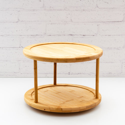 2 Tier Natural Bamboo Lazy Susan