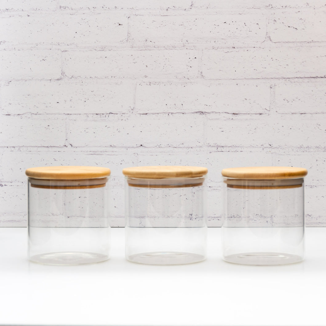 PLD Natural Bamboo Glass Tea, Coffee, Sugar Jars