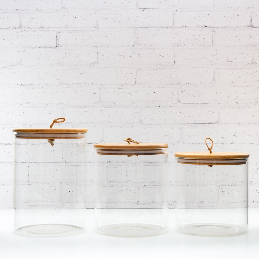 Glass Bamboo Storage Jar with Wood Lids - Set of 3