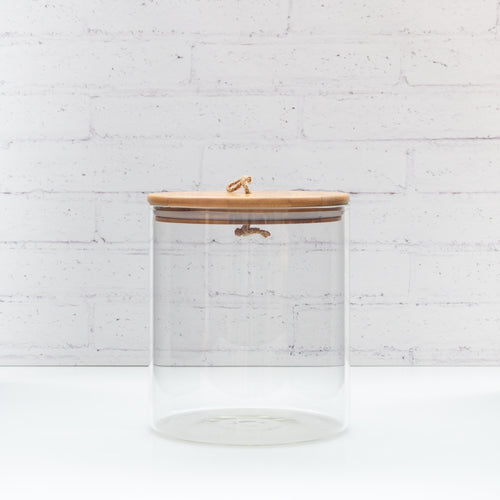 PLD Glass Storage Jar with string Bamboo Lid - 3L