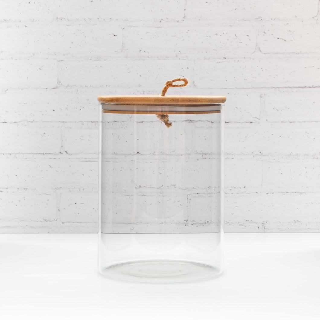 Glass Bamboo Storage Jar with string lid 3.5L