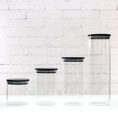 PLD Black Glass Canister with Bamboo Lid Set of 4