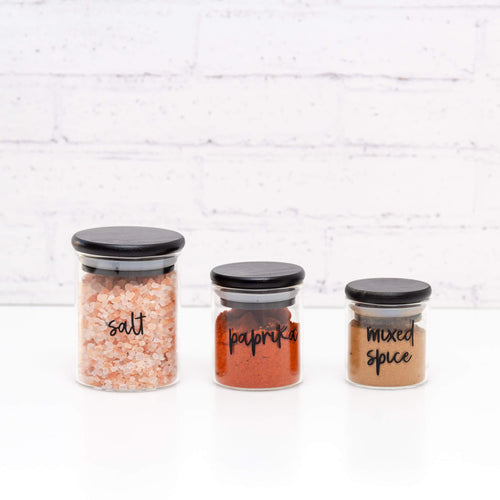 PLD Black Bamboo Glass Spice Jars - 75ml, 100ml, 200ml & 300ml