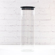 1.6L Tall Spaghetti PLD Black Glass Canister Jar with Bamboo Lid