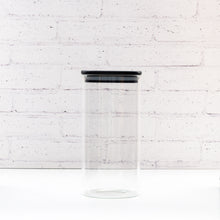 1 Litre Black PLD Glass Canister Jar with Bamboo Lid