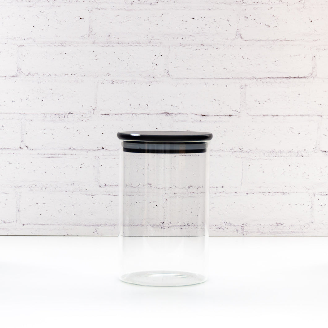 700ml PLD Black Glass Canister Jar with Bamboo Lid