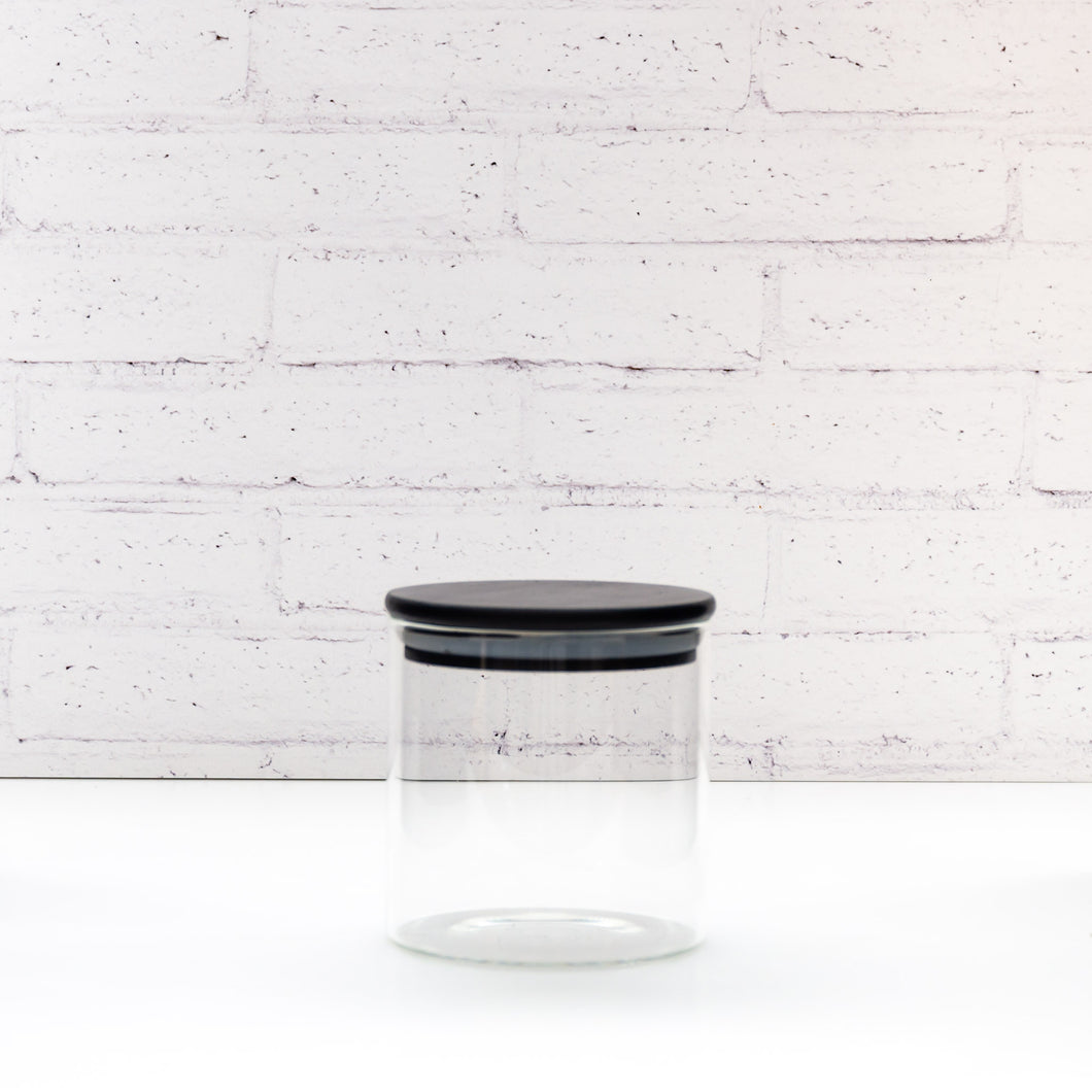 450ml PLD Black Glass Canister with Bamboo Lid
