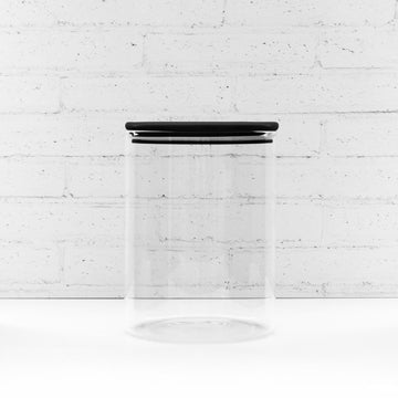 2 Litre PLD Black Glass Canister Jar with Bamboo Lid