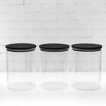 3.5 Litre PLD Black Glass Canister Jar with Bamboo Lid