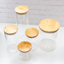 1.6L Tall Spaghetti PLD Glass Canister Jar with Natural Bamboo Lid