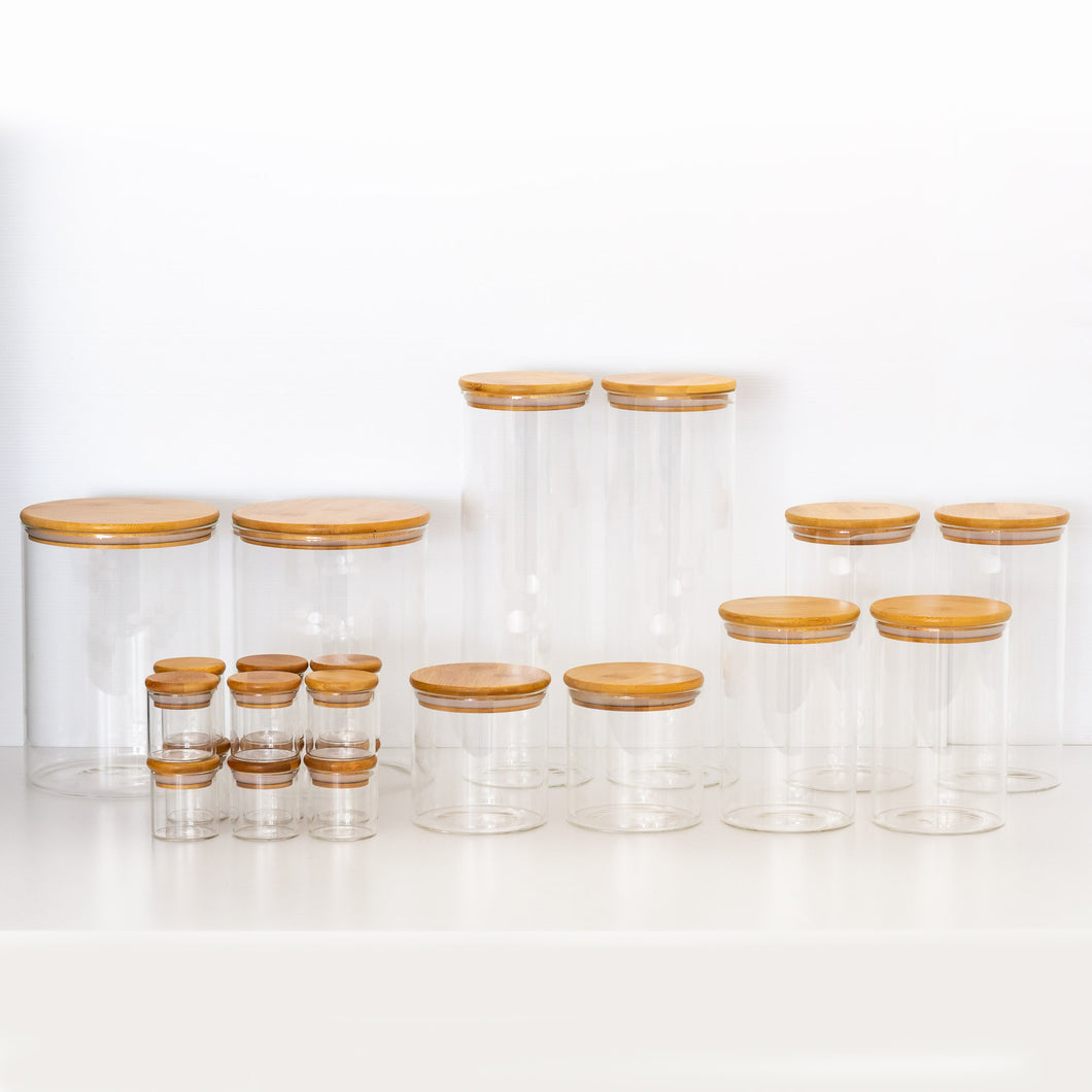 PLD Natural Bamboo Glass Mini Pantry Makeover Set - Canister Jars, Spice Jars and Label options