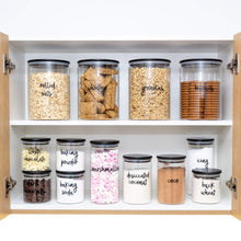 PLD Black Bamboo Glass Mini Pantry Makeover Set - Canister Jars, Spice Jars and Label options