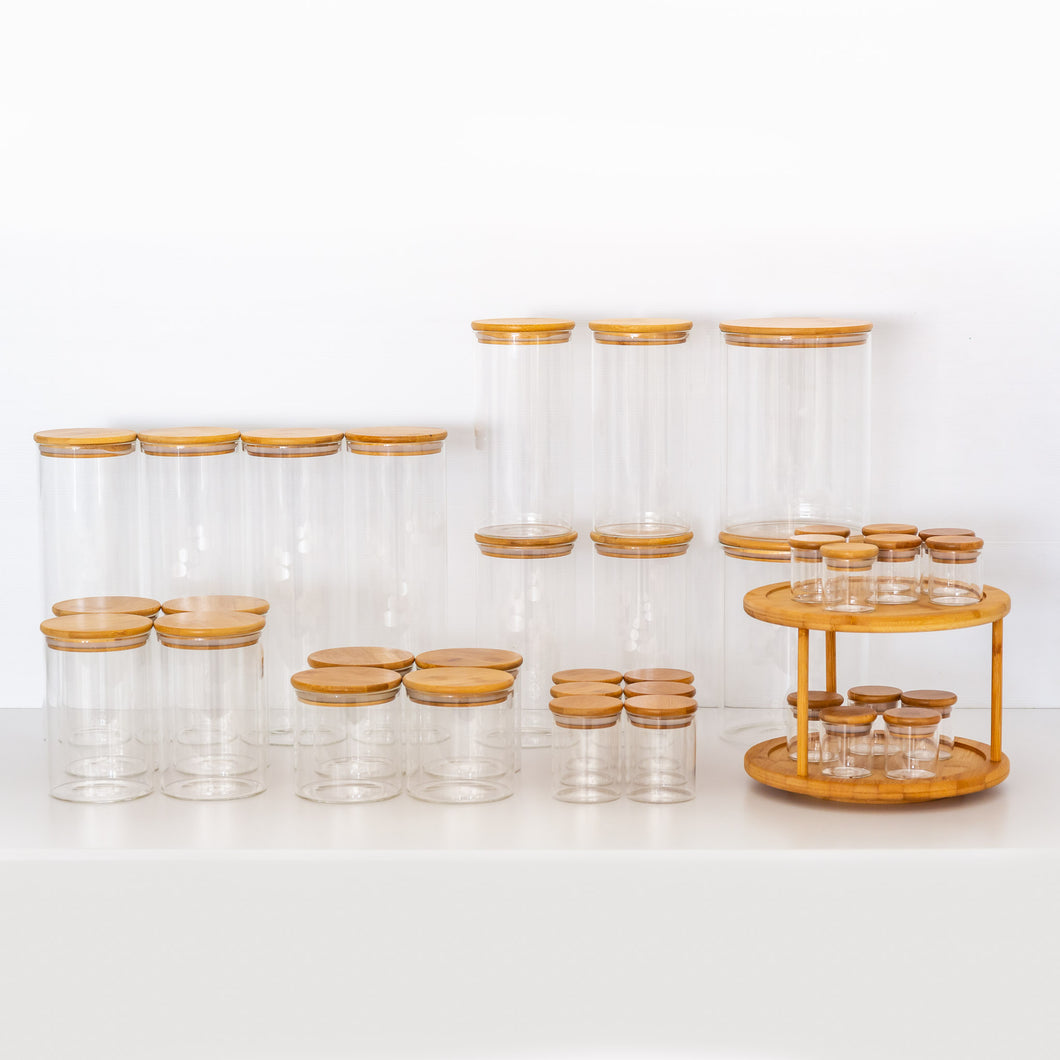 Ultimate PLD Natural Bamboo Glass Pantry, Spice Jars & Label Options
