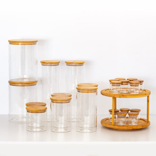 PLD Bamboo Glass Mini Pantry Makeover Set - Canister Jars, Spice Jars and Label options
