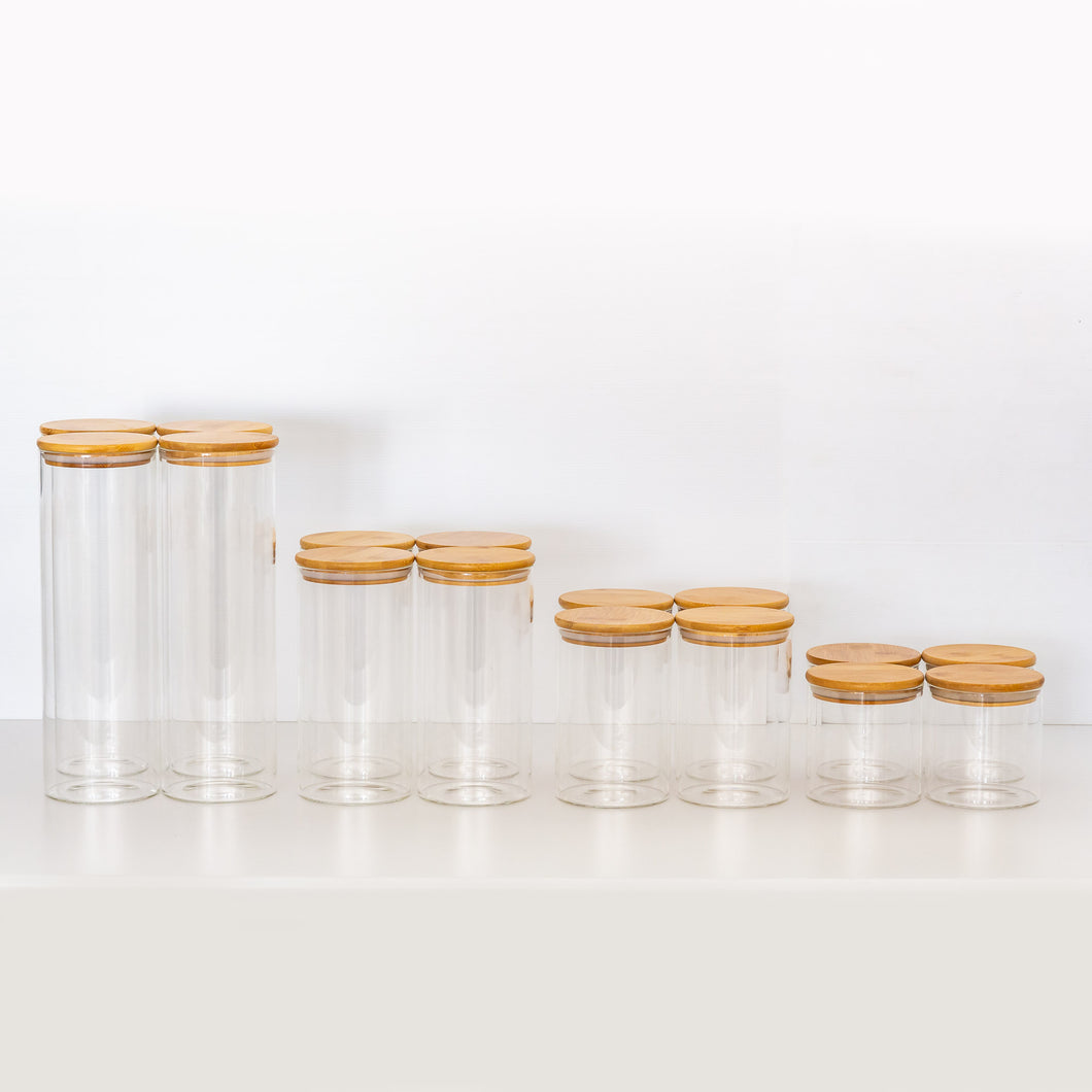PLD Glass Bamboo Storage Jars - 16 Pieces