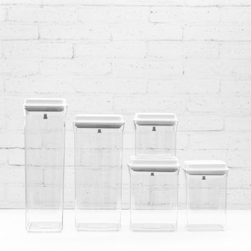 5 Piece Set - PLD White Lid Push Top Deal Pantry Containers