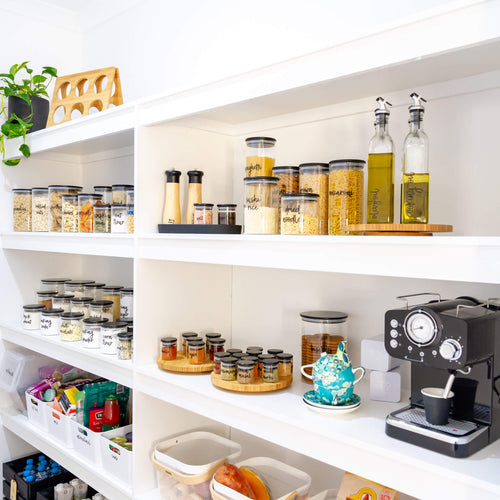 Ultimate PLD Black Bamboo Glass Pantry, Spice Jars & Label Options