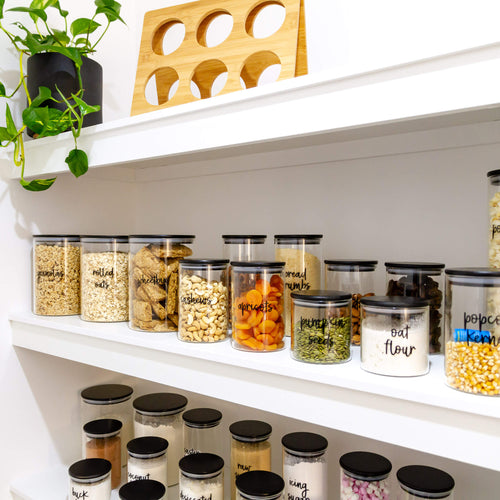 PLD Black Bamboo Glass  Storage Jars - 16 Pieces