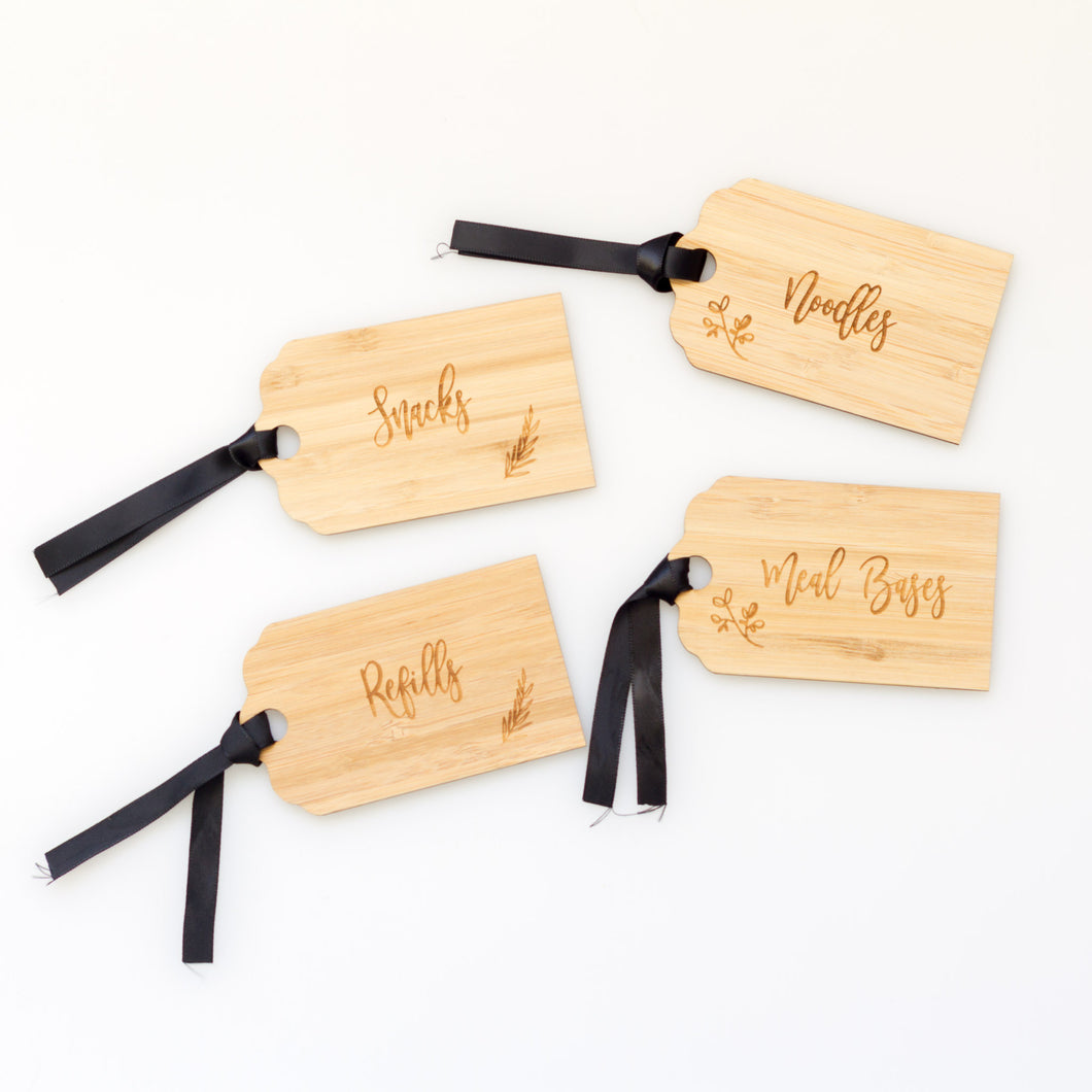 Bamboo Pantry Organisation Swing Tag with ribbon