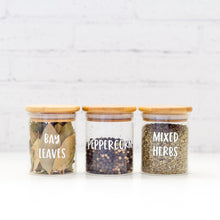 PLD Natural Bamboo Glass Spice Jars - 75ml, 100ml, 200ml & 300ml