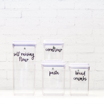 PLD Push Top Deal Pantry Container Set & Labels (or without) - 15 Piece Set