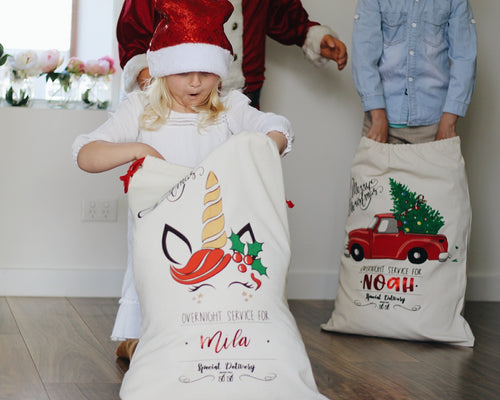 Personalised Christmas Santa Sacks - Unicorn