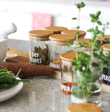 PLD 20 Piece Natural Bamboo Glass Spice Jar & Label Set