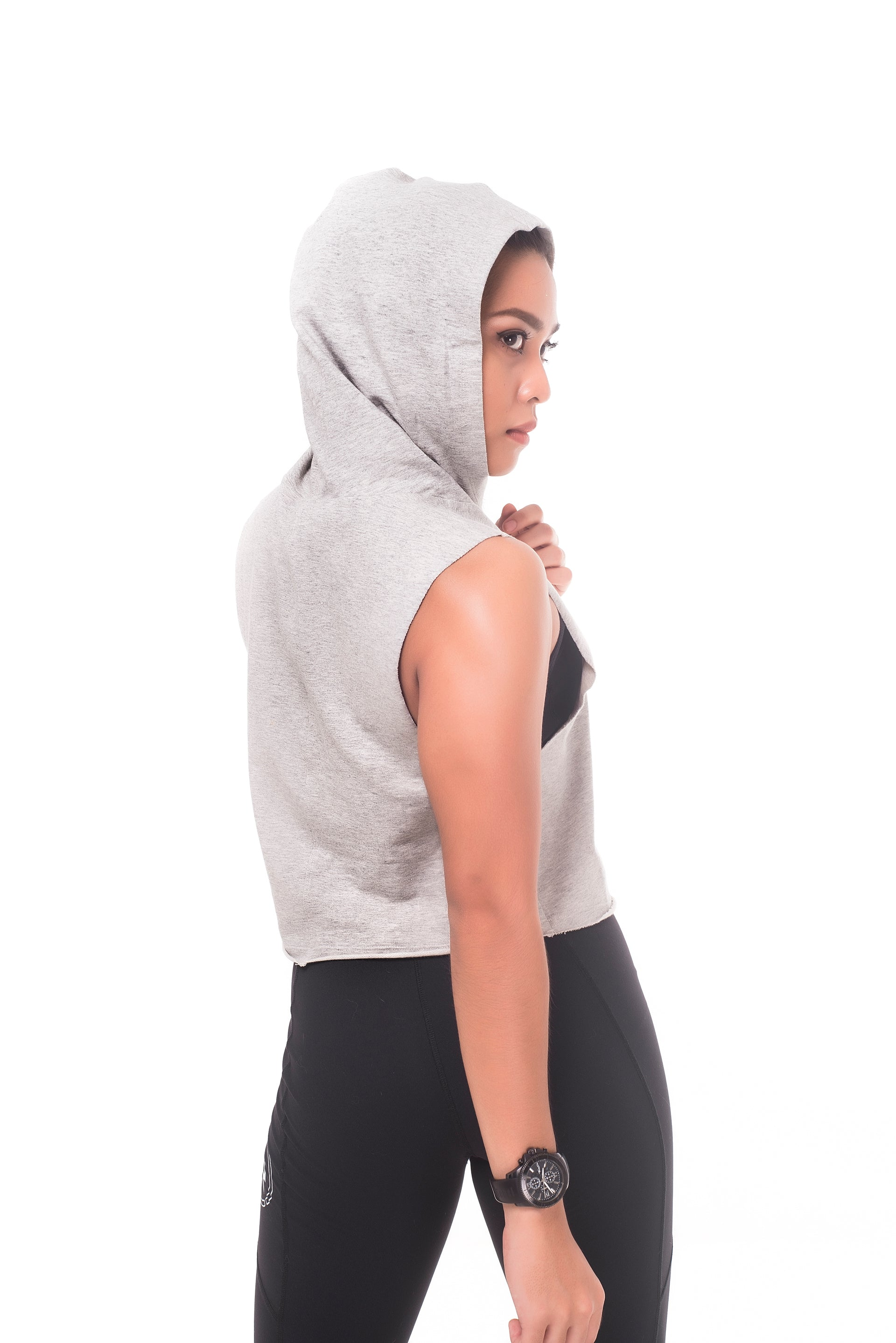Sleeveless Hooded Melange Crop Top