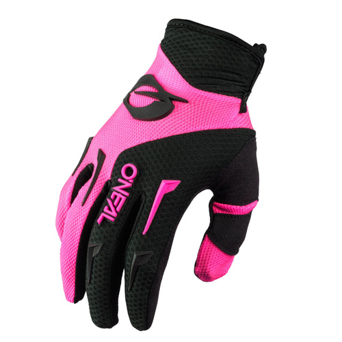 ONEAL WOMENS ELEMENT BLACK/PINK GLOVES (SIZE: MEDIUM)