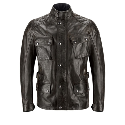 BELSTAFF TURNER HAND WAXED LEATHER JACKET - ANTIQUE BLACK