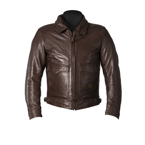HELSTONS BILL LEATHER JACKET - NATURAL BROWN