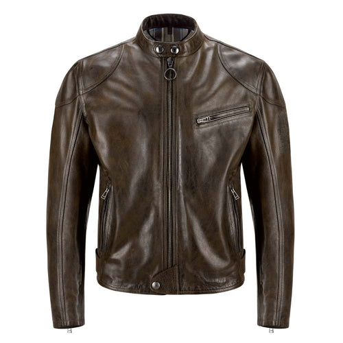 BELSTAFF SUPREME LEATHER JACKET - BLACK / BROWN