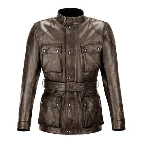BELSTAFF TRIALMASTER CLASSIC TOURIST TROPHY LEATHER JACKET - BLACK/BROWN