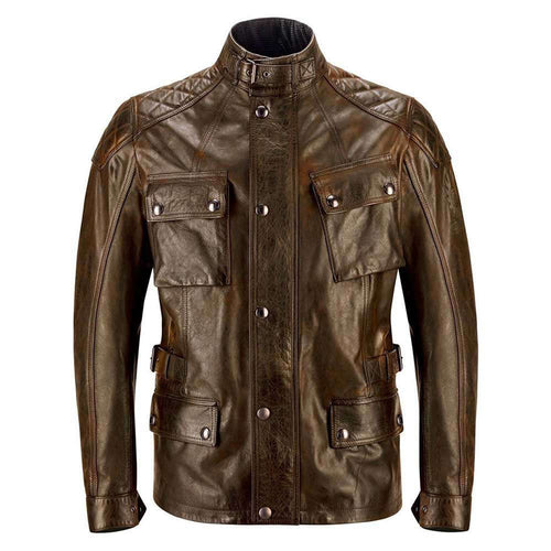 BELSTAFF TURNER HAND WAXED LEATHER JACKET - BURNT CUERO