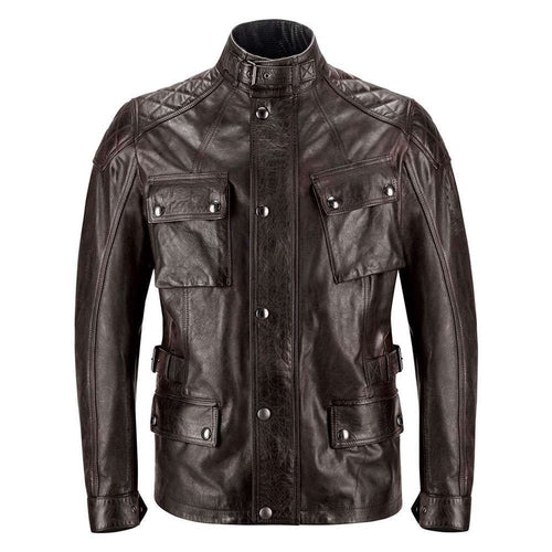 BELSTAFF TURNER HAND WAXED LEATHER JACKET - BLACK/BROWN