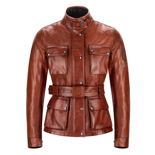 BELSTAFF TRIALMASTER CLASSIC TOURIST TROPHY LEATHER LADIES JACKET - RED