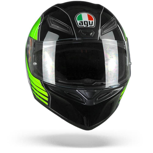 AGV K1 - POWER GUNMETAL/WHITE/GREEN HELMET