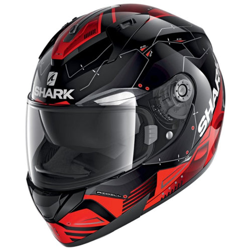 SHARK 2020 RIDILL MECCA HELMET BLACK/RED/SILVER