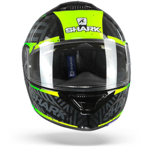 SHARK SPARTAN KOBRAK BLACK/YELLLOW/GREEN HELMET