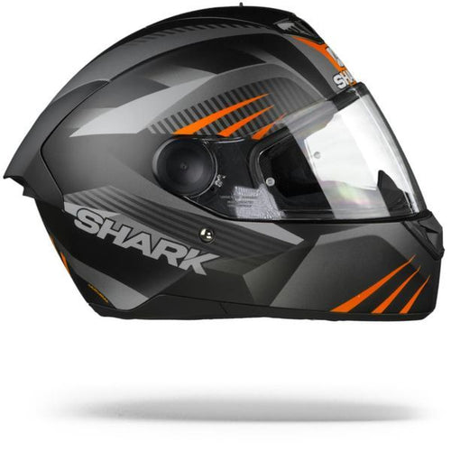 SHARK D-SKWAL ECE MERCURIUM MATTE BLACK/ANTHRACITE/ORANGE HELMET