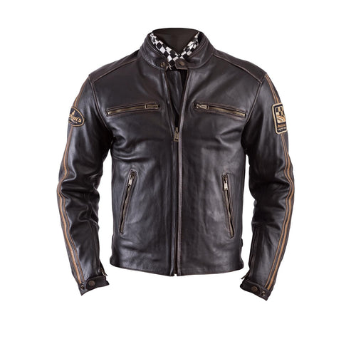 HELSTONS ACE LEATHER JACKET - OLDIES BROWN