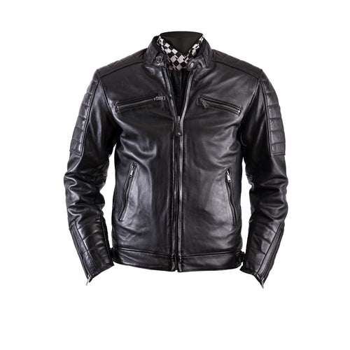 HELSTONS CRUISER LEATHER JACKET - RAG BLACK
