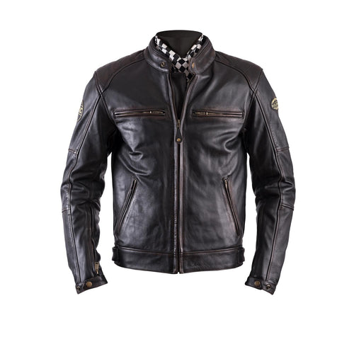 HELSTONS TRACK LEATHER JACKET - OLDIES BROWN
