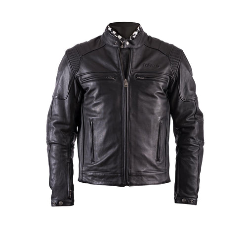 HELSTONS TRUST LEATHER JACKET - PLAIN BLACK