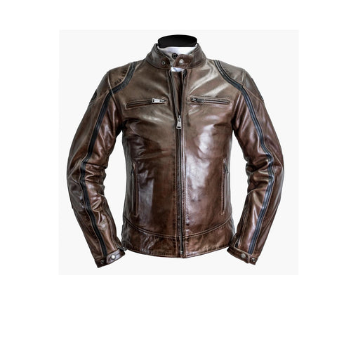 HELSTONS MODELO LEATHER JACKET - RAG CAMEL/BLACK