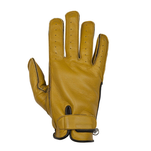 HELSTONS HIRO SUMMER LEATHER GLOVES - GOLD/BLACK